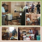 23 March 2014, SoA day, Mt. Zion, AME Church, Bloemfontein, South Africa.    Brothers cooking/preparing food for the day